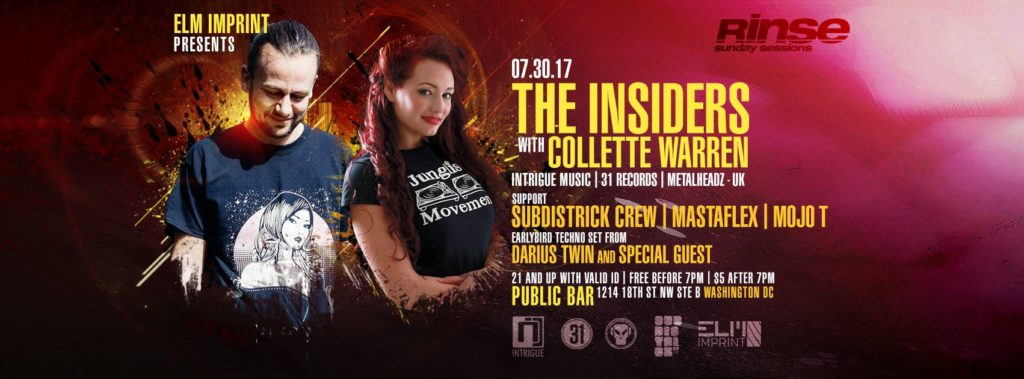 Rinse (Sunday Sessions) The Insiders w/ Collette Warren, SubDistrick crew + more! [07.30.17]
